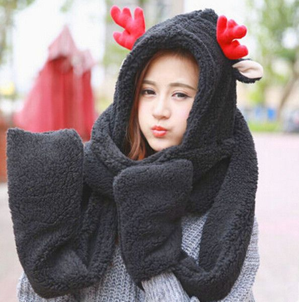 915a153ca1236 Lovely deer hat scarf with paws for women plush winter wear. Find this Pin  and more on plush animal hat scarf and gloves all in one by BUYHATHATS  LIMITED.