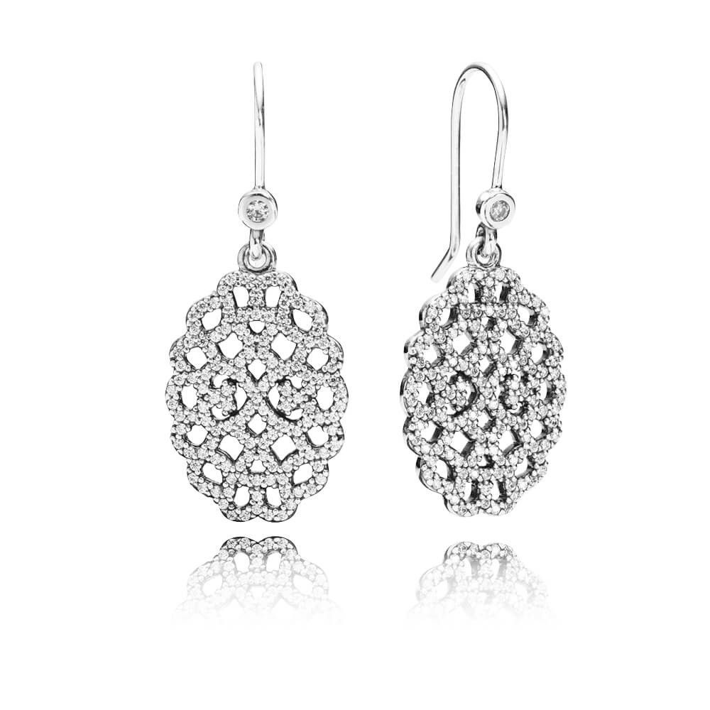 f740eb3b3 Shimmering Lace Dangle Earrings - Sterling Silver with Clear CZ - PANDORA -  290556CZ