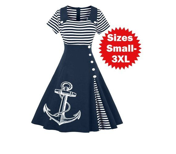 Nautical Anchor Dress Plus Size Clothing Striped Anchors ...