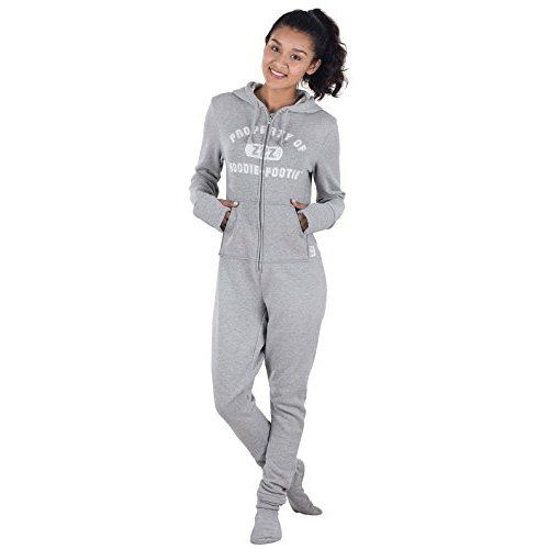 75de00af67 SkylineWears Women s Ladies Onesie Hoodie Jumpsuit Playsuit Black-Gray S
