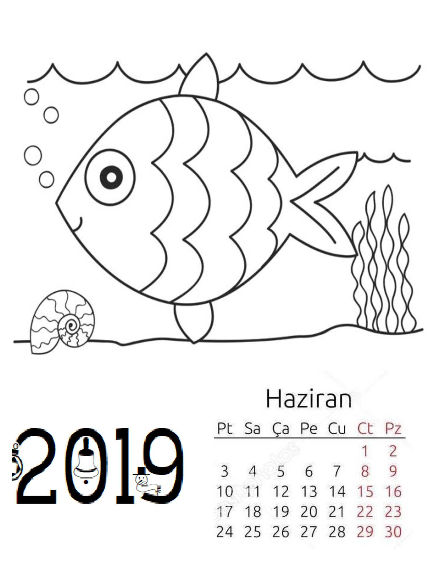 Preschool 2019 Coloring Page Calendar (Monthly