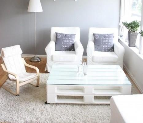 Mesa palets blanca mesas con pallets pinterest mesas - Mesa de palets ...