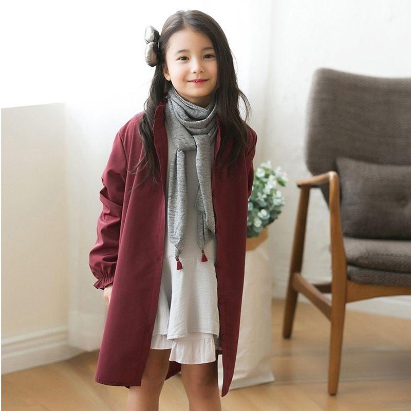 ca07c2790 2017 Spring Autumn Girls Windbreaker Fashion Loose Long Trench Coat ...