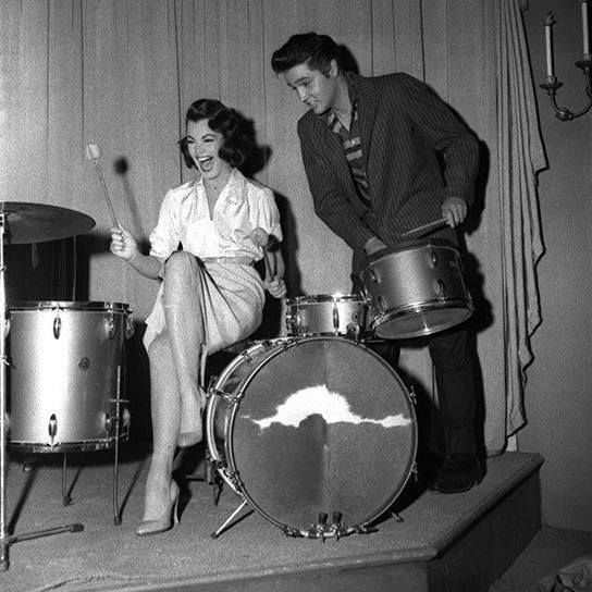 Actress Judy Tyler and Elvis in may 1957 on the set of Elvis third movie, Jailhouse rock.