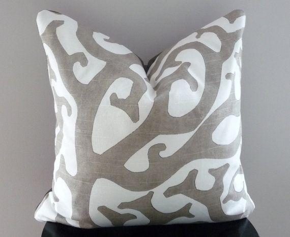 Gray and White Pillow Cover, Kaufmann Pillow - Coral Reef, Coastal,Beach House Stone Grey Throw Pillows