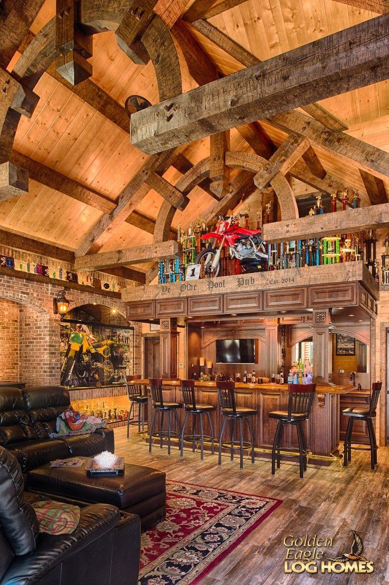 Exterior: Log Home By Golden Eagle Log Homes - Pool Pub