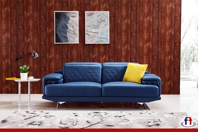 modern blue leather sofa set offers a striking style and design rh pinterest com