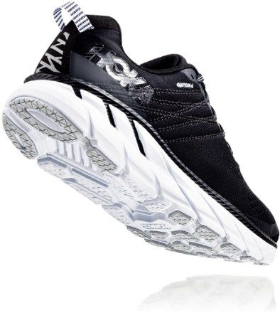 HOKA ONE ONE Women's Clifton 6 Road-Running Shoes Black/White 10.5 Wide