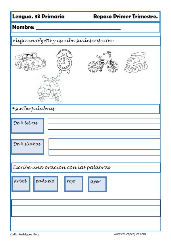 Tareas Ejercicios Y Actividades De Lengua Para Niños De Tercer Grado Lectura De Comprensión Matemáticas De Primer Grado Material Docente