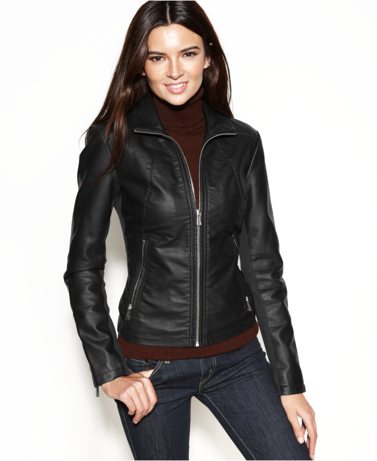 Kenneth Cole Reaction Faux-Leather Zippered-Cuff Jacket - Coats ...
