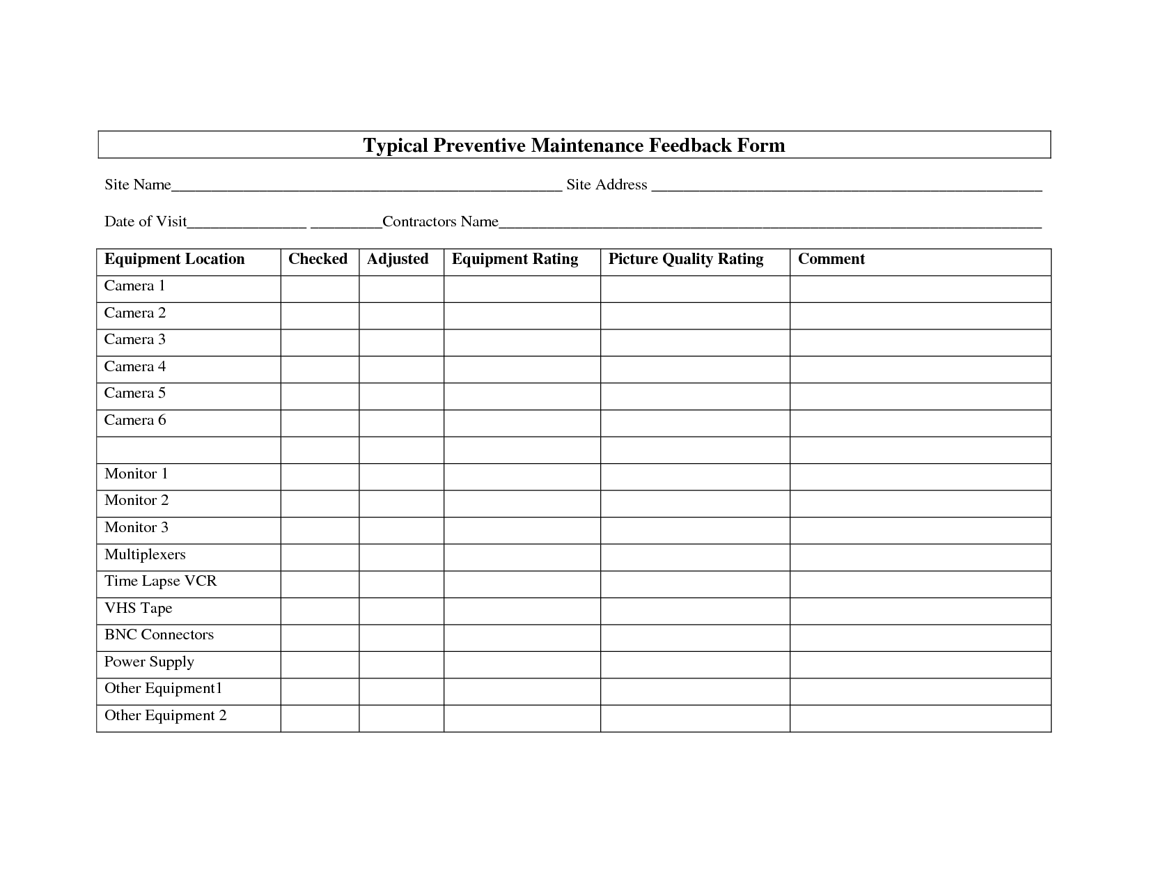 preventive maintenance form