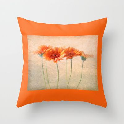 Orange Gerberas Throw Pillow by inkedsandra - $20.00