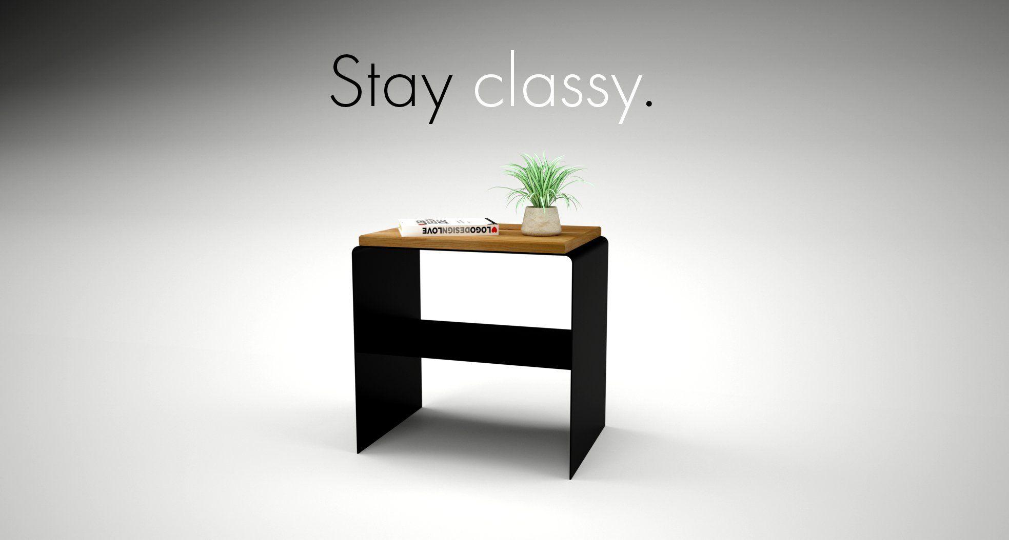 Design Nachttisch Modern Schwarz Holz Metall Schlafzimmer Wohnzimmer