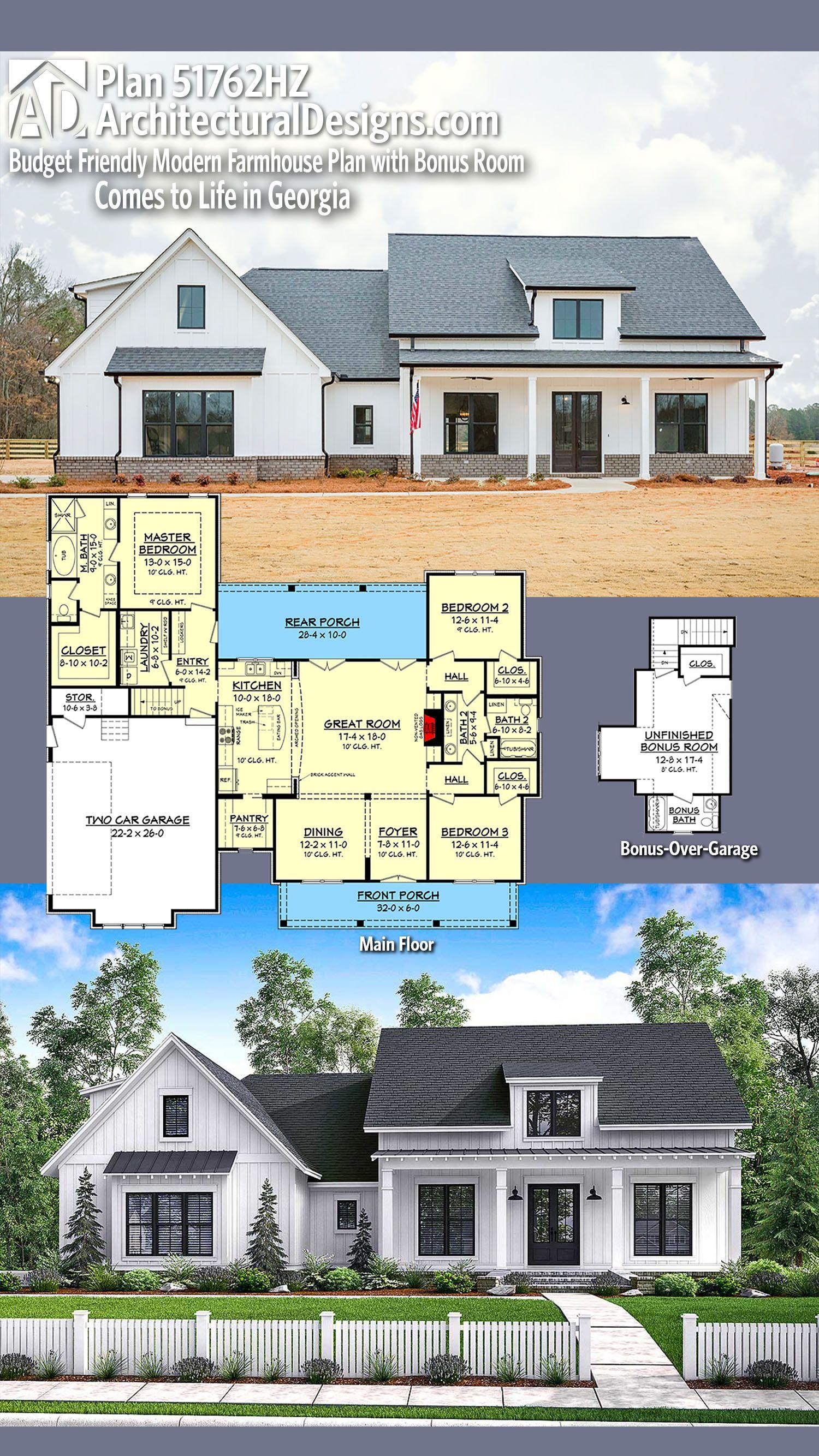 Plan 51762HZ Budget Friendly Modern Farmhouse Plan with