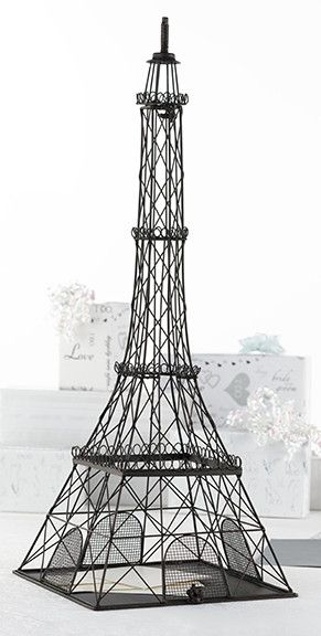 Metal Eiffel Tower Card Box This rustic metal replica of the Eiffel Tower makes for a unique card holder.Gift cards can be easily slid between the bars at the