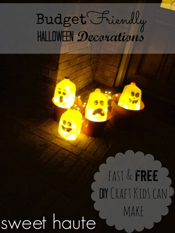 DIY Free Halloween Decorations Milk Jug Ghost - SWEET HAUTE #free - halloween milk jug decorations