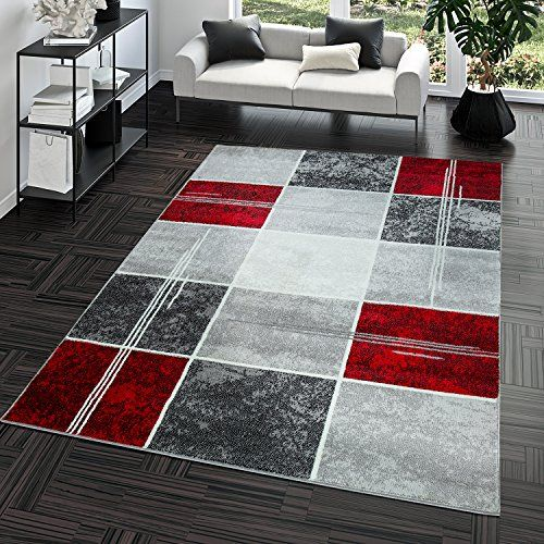 T T Design Tapis A Carreaux Rouge Tapis Moderne Salon Gris Top Prix Polypropylene 80x150 Cm Tapis Moderne Salon Decoration Salon