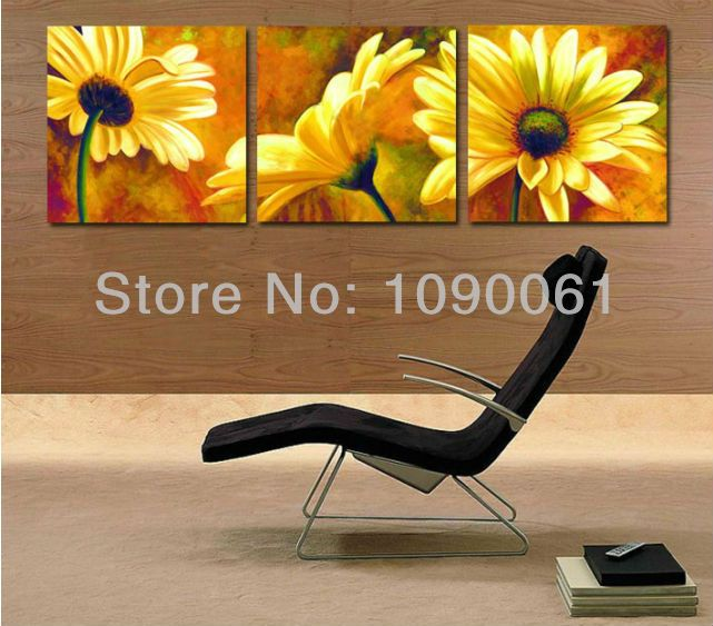 Hand Painted Yellow Flowers Oil Painting Sunflower Wall Decor Modern  Abstract Quality 3 Piece Canvas Picture