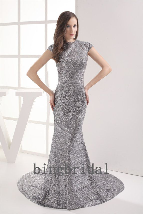 Sequined Bateau Neck Sweep/Brush Train Evening Dress by bingbridal ...