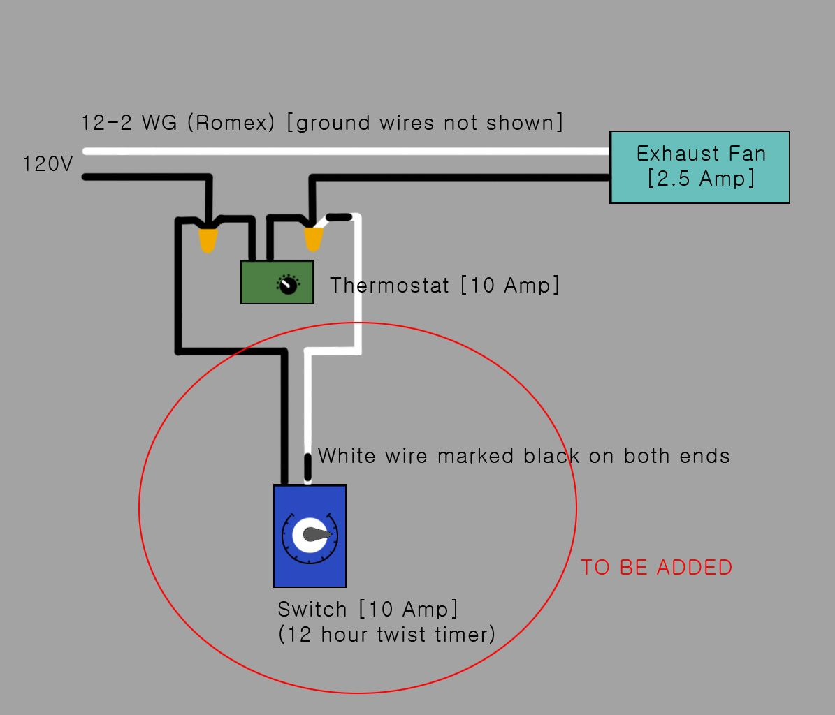 Electrical Would This Be The Correct Way To Add A Timer Switch In With Regard To Proportions 1195 X 1024 Thermostat Wiring Exhaust Fan Thermostat