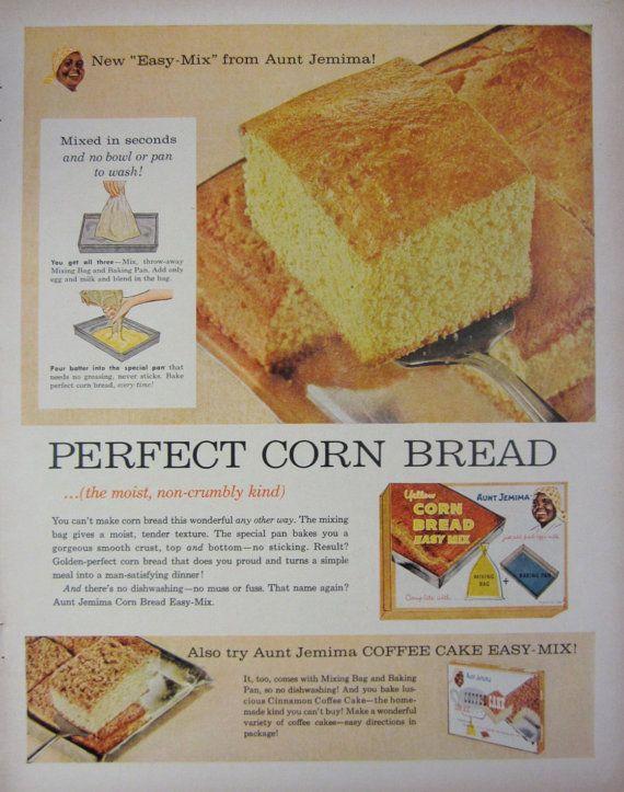 1958 Aunt Jemima Corn Bread Mix Vintage Advertisement Kitchen | Etsy | Cornbread mix, Vintage ...