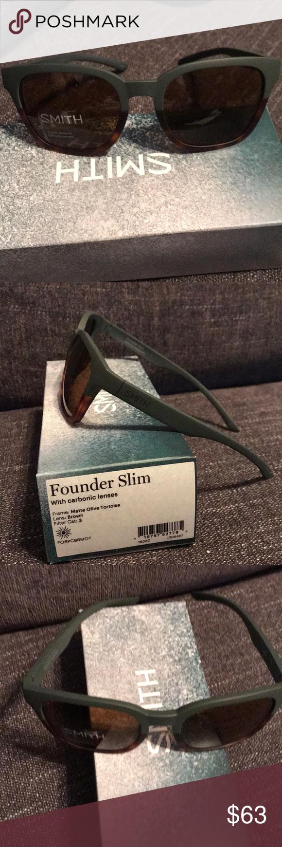 fb17538cc1da2 SMITH Optics FOUNDER SLIM Sunglasses. SMITH Optics FOUNDER slim sunglasses.  Matte olive and tortoise frame with brown carbonic lenses.