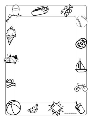 Summer Fun Portrait Blank Clip Art Borders Colorful Borders Design Coloring Pages