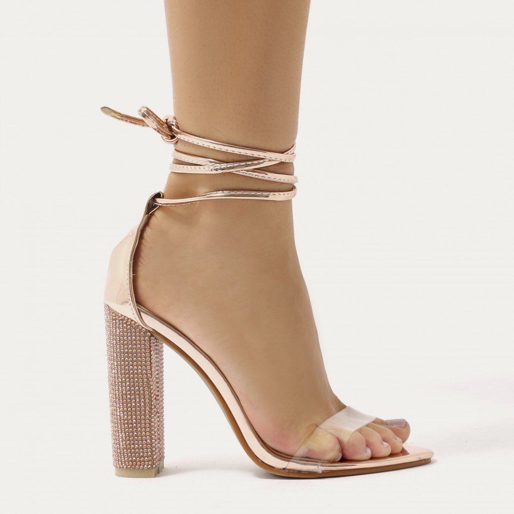 b0a25e683cd Fatale Diamante Clear Perspex Lace Up Heels in Rose Gold   Shoes ...