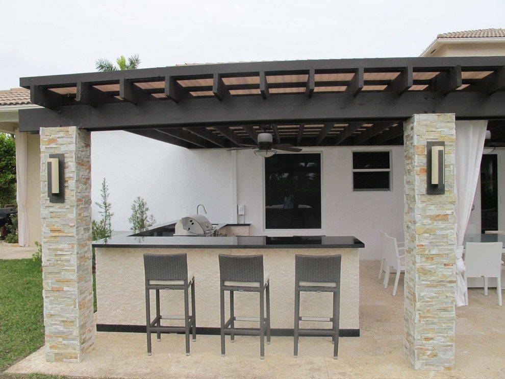 Patio Kitchen Huge Modern Backyard Stone Patio Kitchen Idea In Miami With A Pergola Modern Outdoor Kitchen Outdoor Kitchen Design Modern Patio
