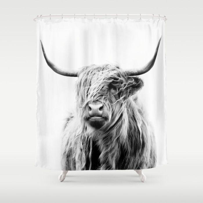 Portrait Of A Highland Cow Shower Curtain Unique Shower Curtain