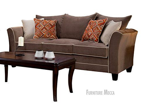 Superbe Riverstone Espresso Pillow Top Cushioned Sofa, White Line Accent Around The  Frame And Cushioned