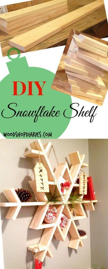 """Let It SnowMy DIY Wooden Snowflake Shelf - Woodworking projects diy, Holiday projects, Snow flakes diy, Wooden snowflakes, Wooden diy, Easy woodworking projects - It's no secret  I'm a big fan of Ana White…but, seriously, who isn't  I'm a huge fan of several DIY bloggers, but Ana White was the first one I stumbled upon  If you don't know who who she is, CHECK HER OUT    She recently posted about a new challenge she is hosting  Basically, you have to make a wooden snowflake  She provided a stencil to create a snowflake from a piece of plywood, but I really wanted to do something unique (if you know me, you know that is like the story of my life…""""I wanted to do something different"""")  I was inspired by That's My Letter's Christmas tree shelf and Ana White's snowflake challenge to make my own snowflake shelf  I looked on Pinterest before building to make sure no one had already had this idea haha  I found nothing, so I was good to go 🙂   The build was pretty simple  The hardest part was getting the nail gun into all the weird angles  FYI keep in mind that everything was glued and nailed (no screws)  While this will hold a significant amount of weight, it is not a good idea to weigh it down with …"""