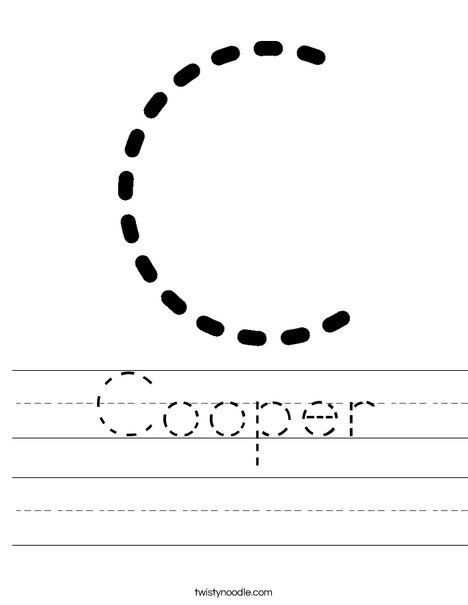Cooper Worksheet - Twisty Noodle | Letter c worksheets ...