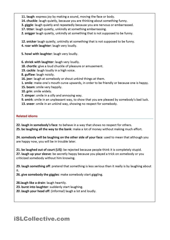 Ways of Laughing | แบบฝึกหัด | Pinterest | Worksheets, Printable ...