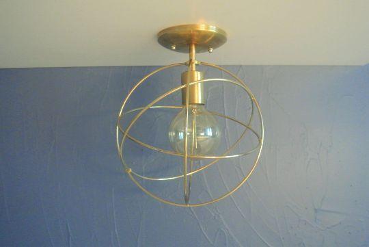 Four ring brass orb flush mount light fixture mid century modern style lighting pepe