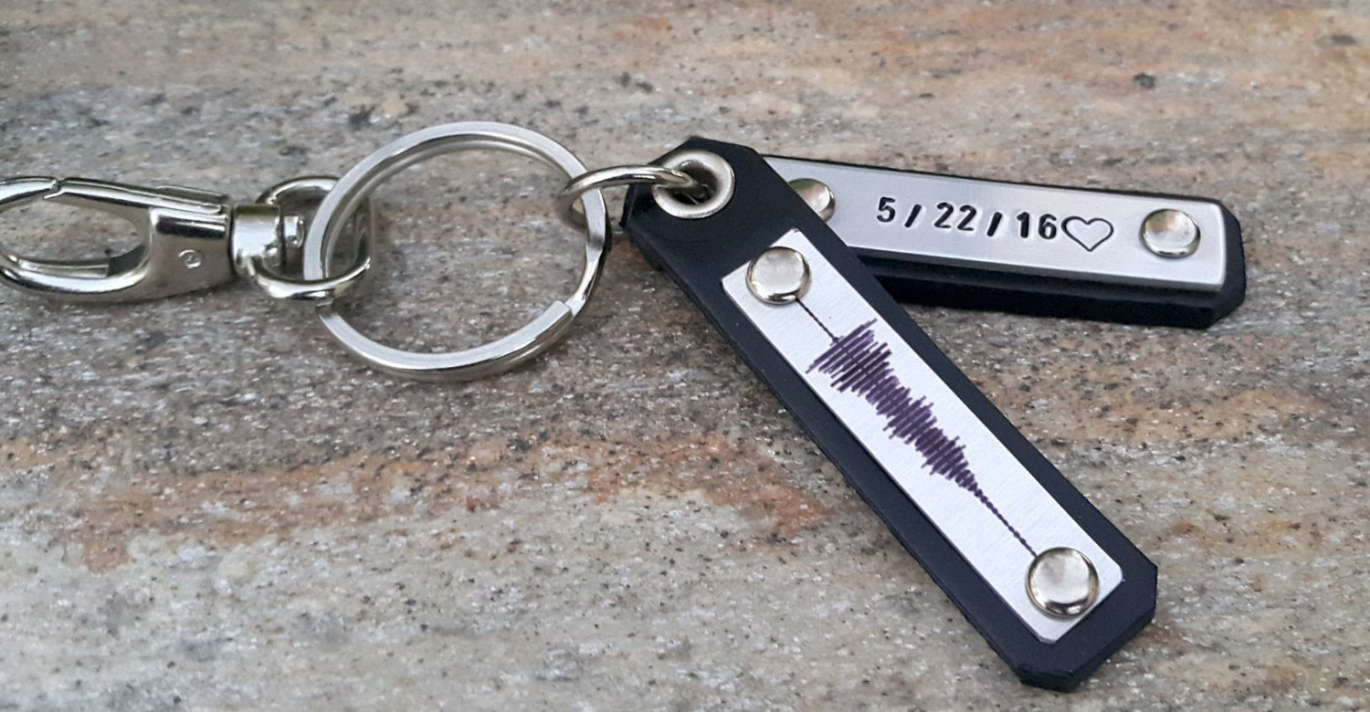 Personalized Leather Sound Wave key chain Soundwave keychain recording engraving