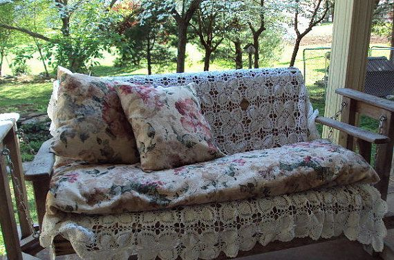 Covered Porch Swing Glider. Wicker Settee  Slip by 2creativeladys, $45.00