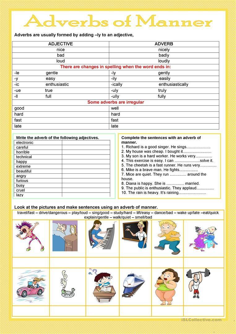 Adverbs of manner worksheet - Free ESL printable worksheets made by  teachers   Adverbs [ 1079 x 763 Pixel ]