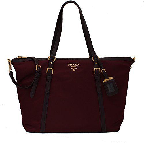 73b04340e Prada Tessuto Soft Calf Nylon and Leather Shopping Tote Bag - Burgundy  Crimson Red