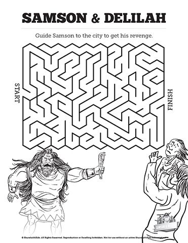 Samson And Delilah Bible Mazes See If Your Kids Can Find Their