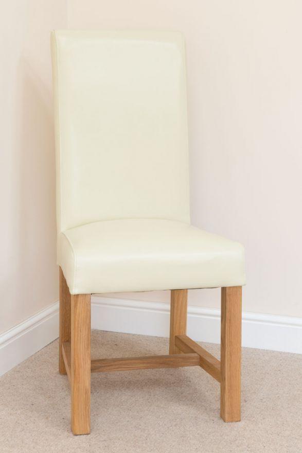 Enjoyable Titan Premium Scroll Back Cream Full Leather Solid Oak Leg Pabps2019 Chair Design Images Pabps2019Com