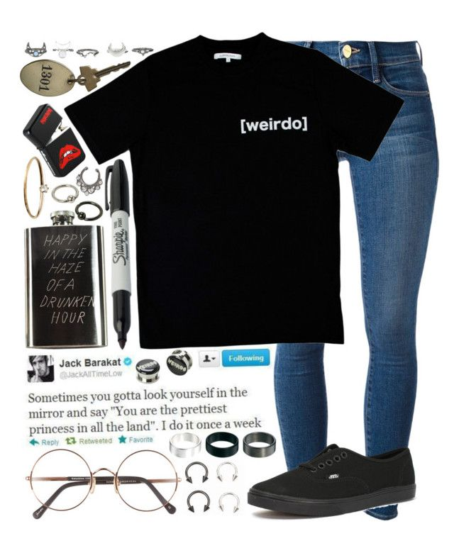"""""""//w e i r d o//"""" by tumblr-fluid ❤ liked on Polyvore featuring Frame Denim, Illustrated People, Vans, Sharpie, In God We Trust, Satomi Kawakita, Sunday Somewhere and ASOS"""