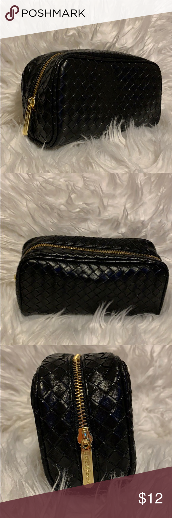 "Bare Minerals make up bag Bare Minerals weave pattern make up bag! Vegan Leather black with gold zipper. New with out tag. 8"" long 4 1/2""tall 2 1/2"" deep. NWOT bareMinerals Bags Cosmetic Bags & Cases #mineralcosmetics"
