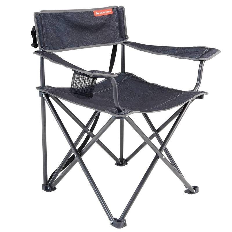 Grand fauteuil pliant gris pour le camping quechua | Van ...