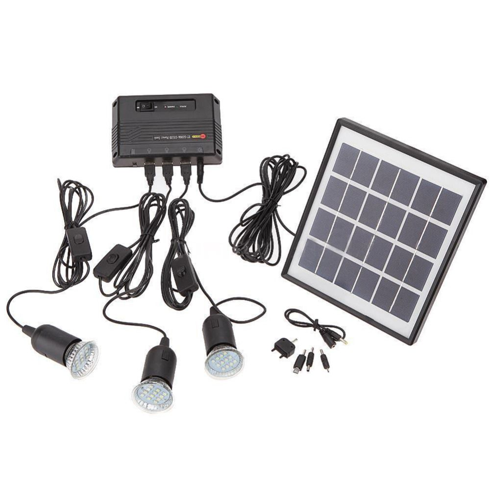 Outdoor Solar Power Panel LED Light Lamp USB Charger Home System Kit ...