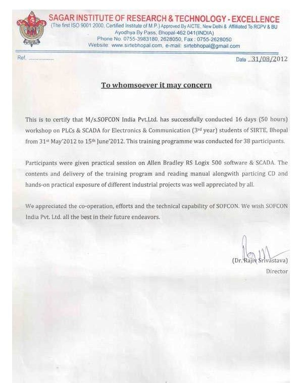 Appreciation Letter From Sagar Institute Of Research  Technology
