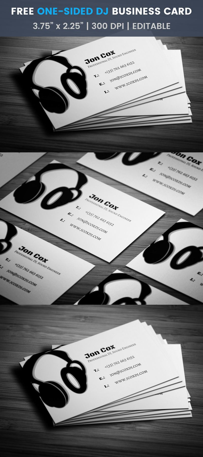 One Sided Sleek Dj Business Card Template Disco Dj Sound Dj Business Cards Printing Business Cards Free Business Card Templates
