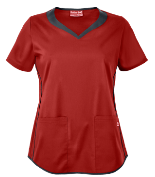 UA Butter-Soft STRETCH Scrubs 3 Pocket Sweetheart Top   Get moving in this stylish and sporty stretch scrub top! Contrast bands and piping accent the sweetheart neckline, front sides, and hem. Style # BSS824 #UniformAdvantage #UAscrubs #ADayInScrubs #RedScrubs #ButterSoftScrubs