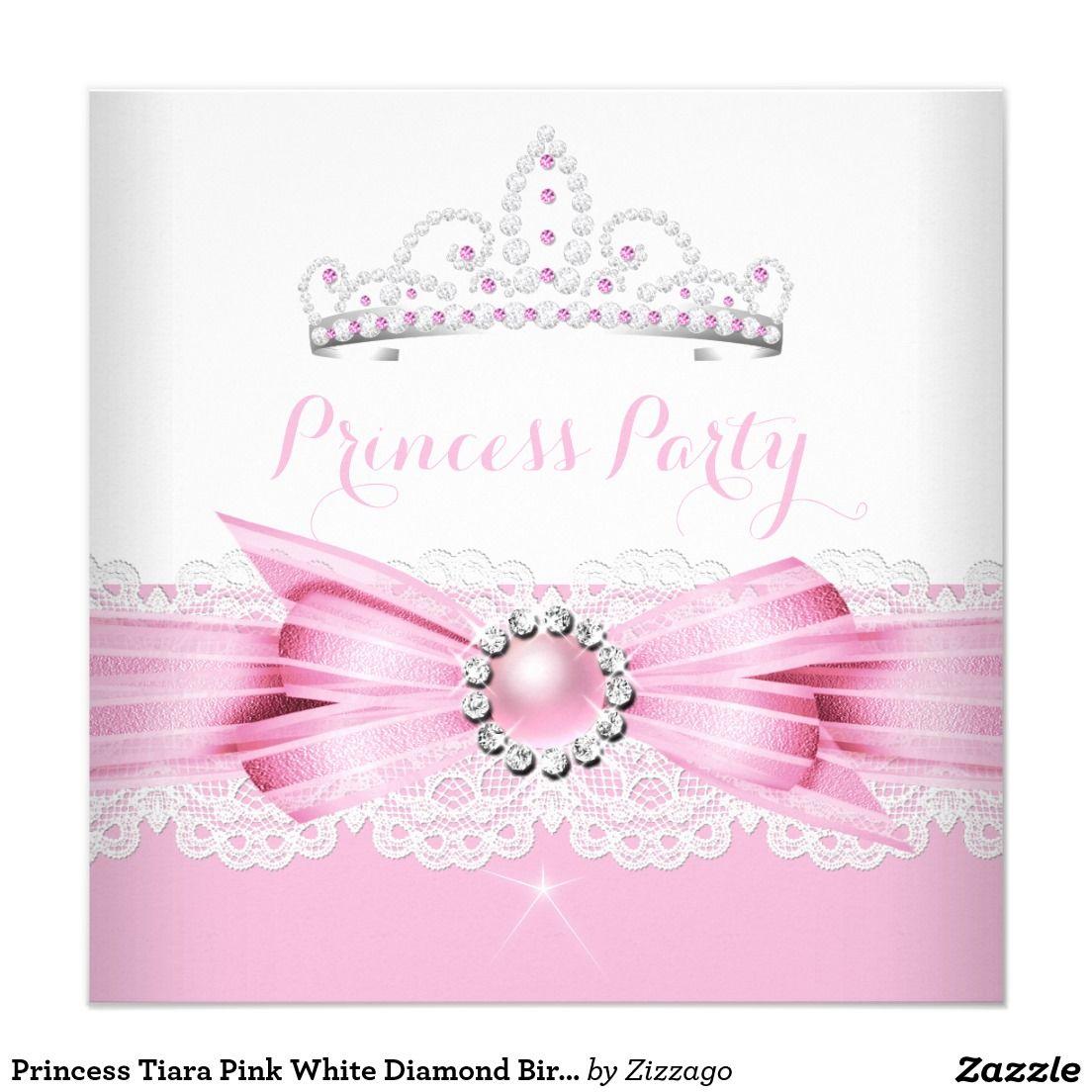 Princess Tiara Pink White Diamond Birthday Party Card   Princess ...