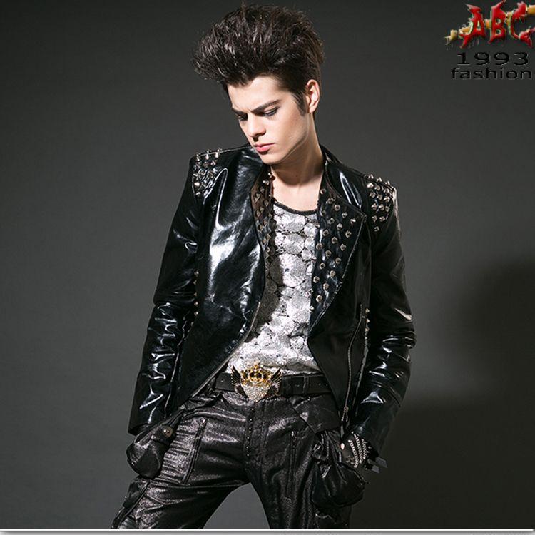 style punk rock mode masculine veste en cuir noir de brignac rivet jaquetas  couro nuit clubwear